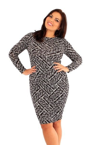 Jenna Monochrome Print Bodycon Dress (UK 20)
