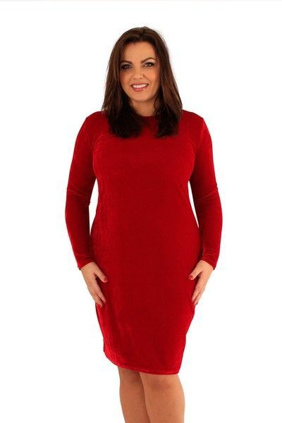 Jenna Red Velvet Bodycon Dress (UK 20)