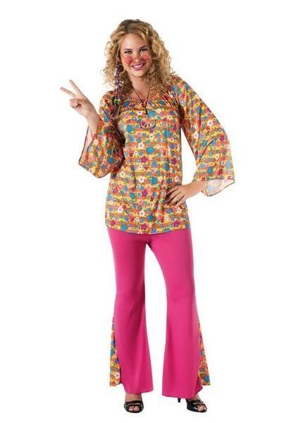 Ladies Big Mama 60's Hippie Fancy Dress Costume (UK 16-18)