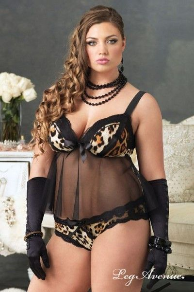 Leopard And Black Lace Babydoll (UK 20 / 22)