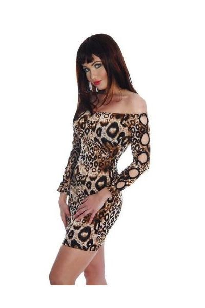 Leopard Print Long Sleeve Clubwear Mini Dress (UK 12 / 14)