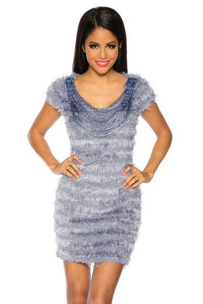 Light Blue Mini Dress with Beads (UK 8 - 12)