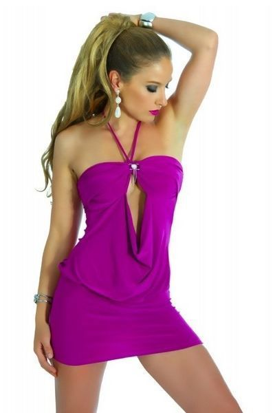 Lilac Open Front Megan Clubwear Mini Dress (UK 8 / 10)