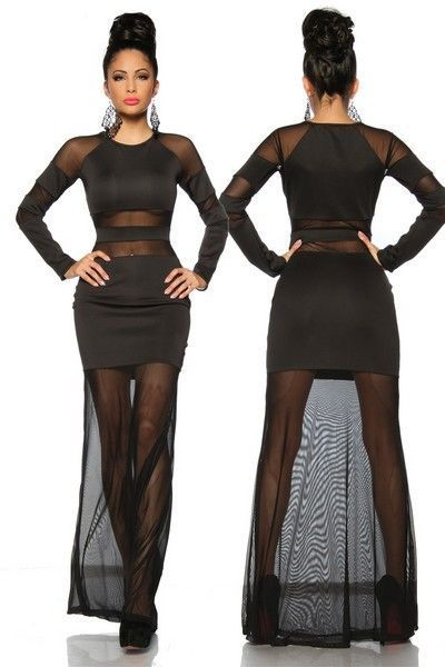 Long Black Evening Dress with Mesh Inserts (UK 8 - 12)