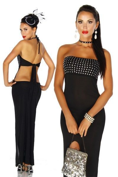 Long Black Evening Dress with Rhinestones (UK 6 / 10)