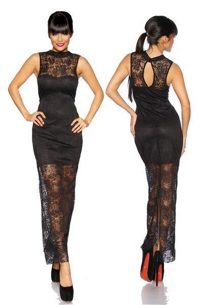 Long Black Lace Evening Dress with Lining (UK 8 - 12)