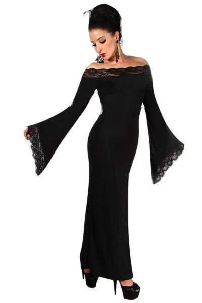 Long Black Strapless Dress with Lace Trim Detail (UK 8 / 10)