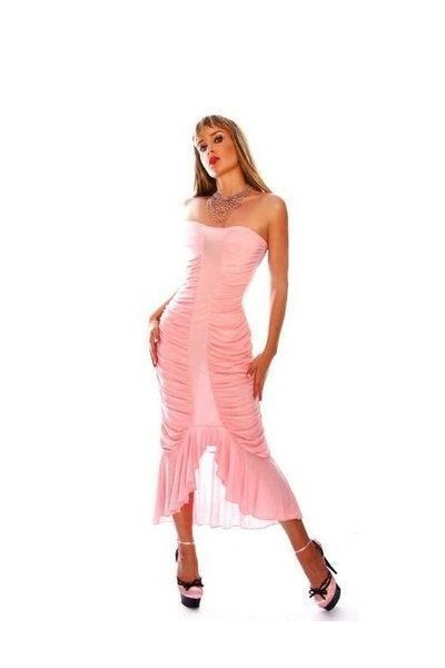 Long Pink Strapless Evening Dress (UK 8 / 12)