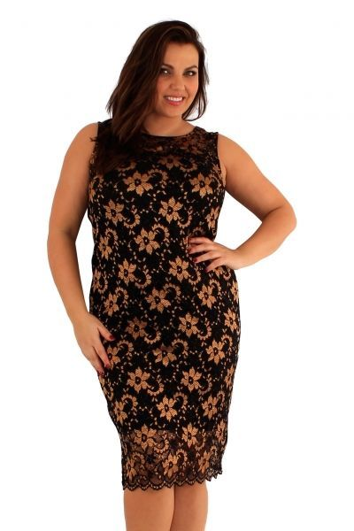 Love Curve Gold Lace Midi Dress (UK 20 / 22)