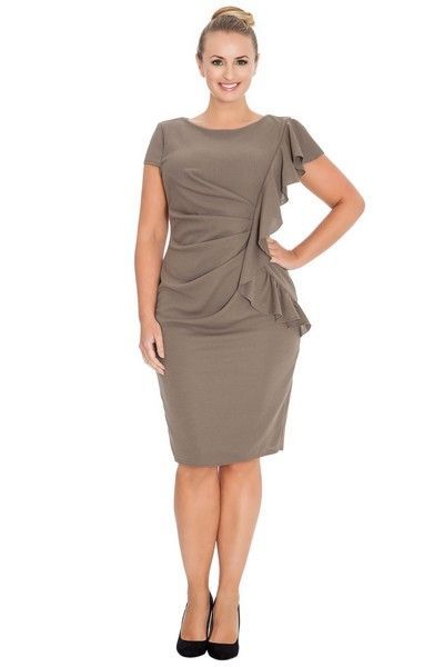 Mocha Midi Dress with Waterfall Frill (UK 14 / 16)