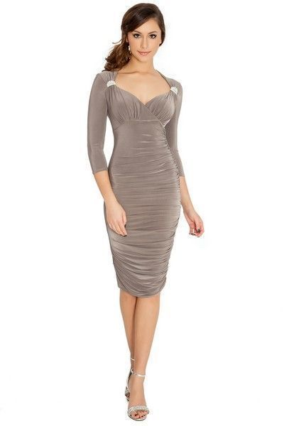 Mocha Quarter Sleeve Bodycon Midi Dress (UK 14)