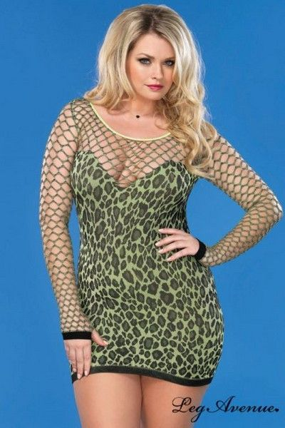 5d8c8e4f6b8 Neon Green Leopard Print Plus Size Mini Dress (UK 14-22) .