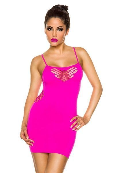 Neon Pink Tube Dress with Netting (UK 8 - 12)