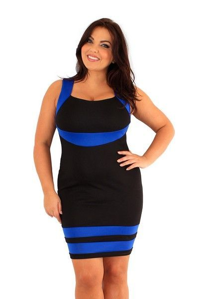 Nimrat Black and Blue Contrast Panel Dress (UK 24)