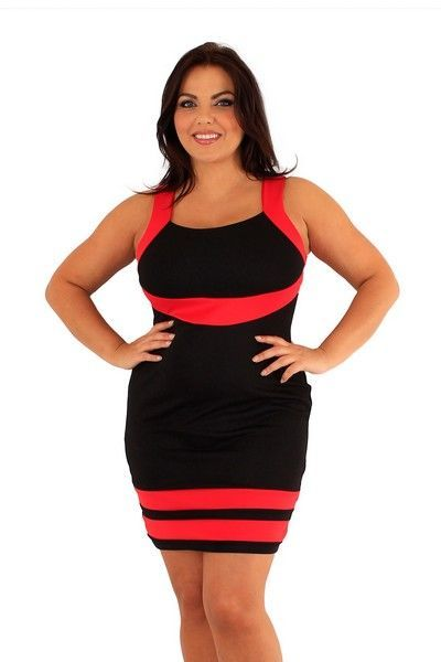 Nimrat Black and Red Contrast Panel Dress (UK 24)