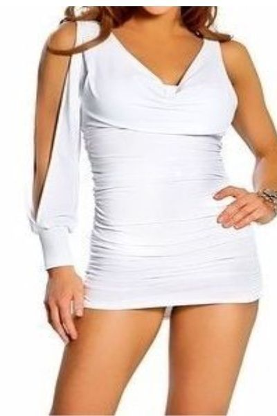 One Sleeve White Mini Clubwear Dress (UK 8 - 12)