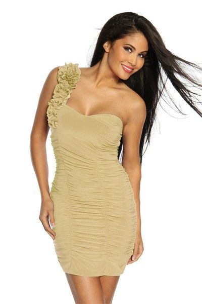 Ornate Beige Ruffle Clubwear Mini Dress (UK 8)