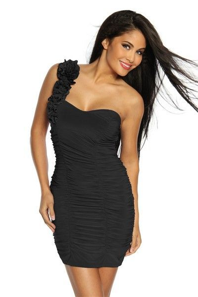 Ornate Black Ruffle Clubwear Mini Dress (UK 14)