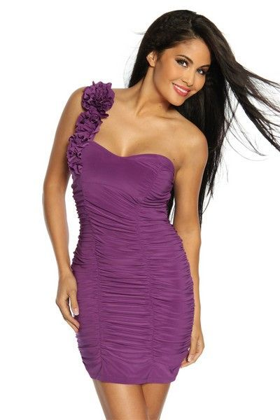 Ornate Purple Ruffle Clubwear Mini Dress (UK 14)
