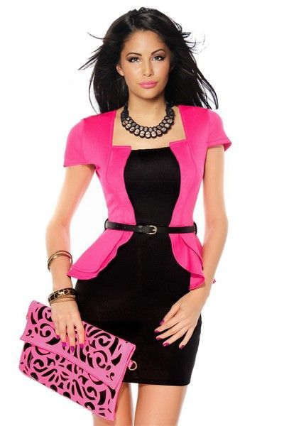 Pink and Black Mini Dress with Patent Belt (UK 14)