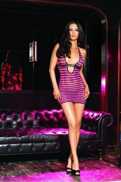 Pink Striped Fishnet Clubwear Mini dress (UK 8 - 12)