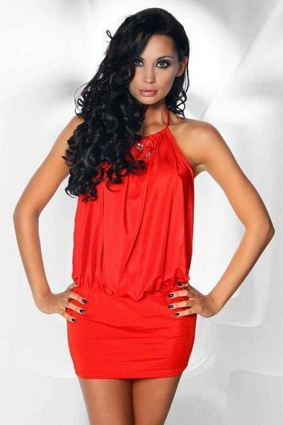 Red Backless Mini Dress with Rhinestones (UK 6 - 10)