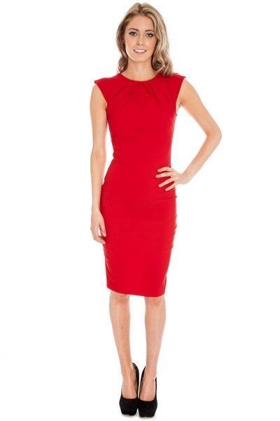 Red Cap Sleeve Bengaline Dress with Pleated Neckline (UK 8)