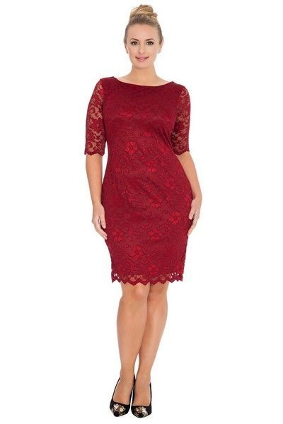 Red Wine Knee Length Midi Dress (UK 14 / 16)