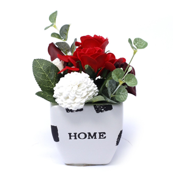 Rich Red Soap Bouquet Petite Flower Pot Mothers Day Gifts Deal | Bonnebombe