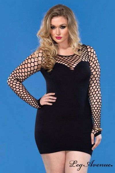 Seamless Black Plus Size Mini Dress (UK 14-22)