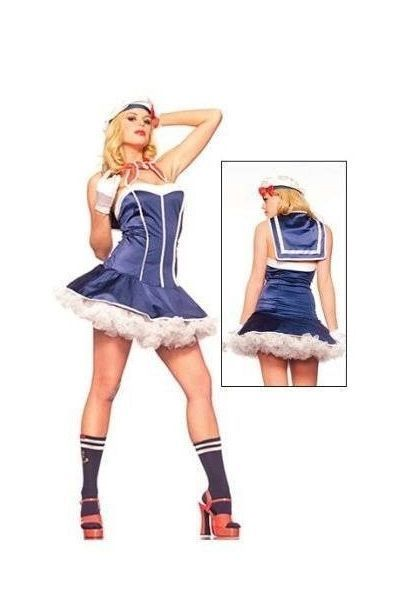 Sexy French Sailor Fancy Dress Costume (UK 12 - 14)