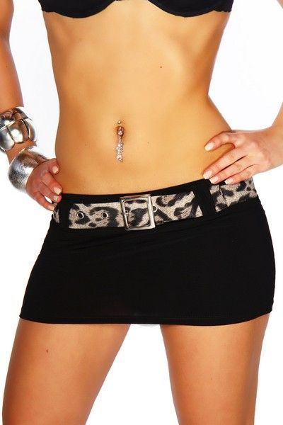 Short Black Mini Skirt with Leopard Belt (UK 12)