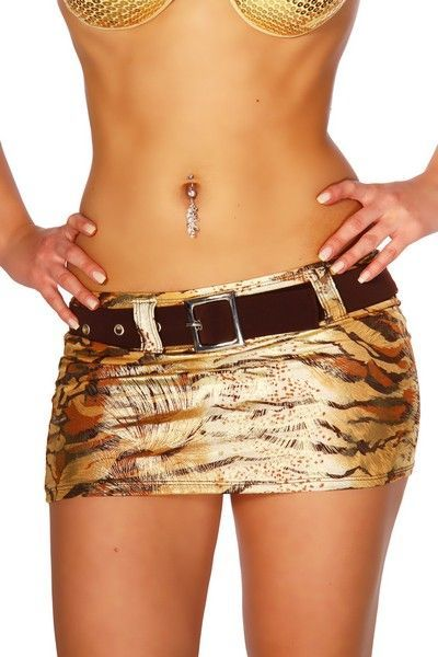 Short Tiger Print Mini Skirt with Belt (UK 12)