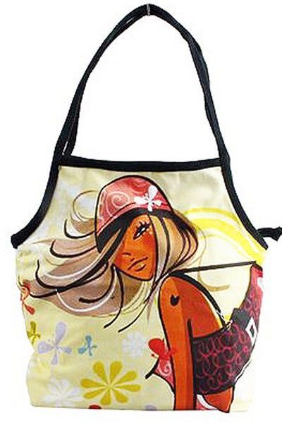 Shoulder Strap Beach Bag With Pop Art Design