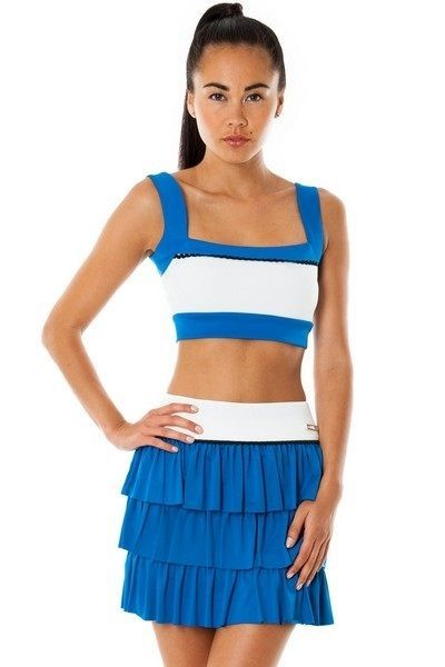 Stretchy Wide Ruffle Blue and White Sports Skirt (UK 10)