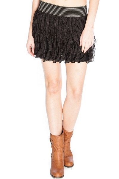 Vertical Frill Knitted Black Skirt (UK 10)