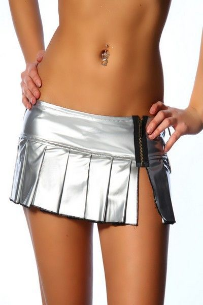Vinyl Wet Look Silver Clubwear Mini Skirt (UK 10 / 12)