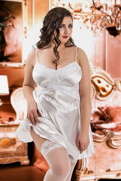 White Satin Bridal Stretch Babydoll with Lace (UK 16 / 18)